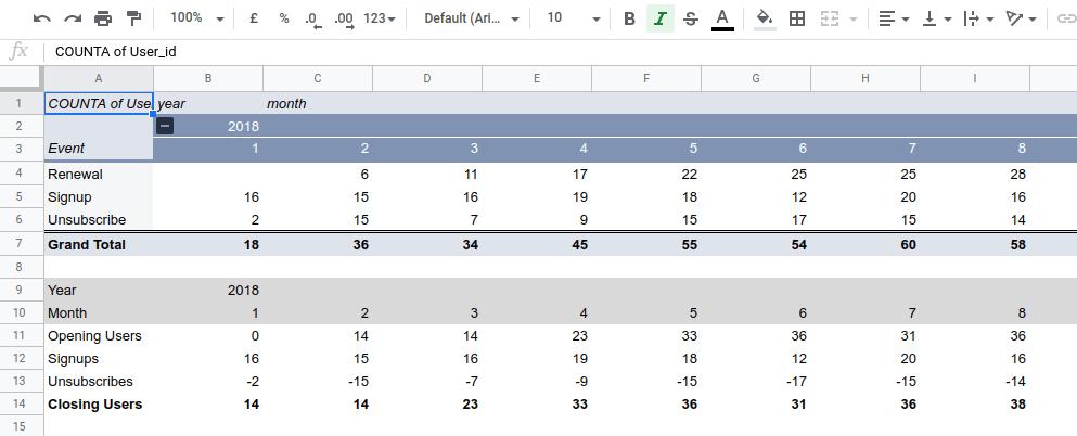 Pivot Table - Cohort Analysis
